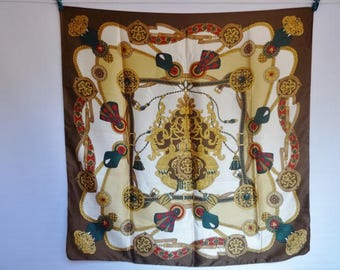 "Vintage Tie Rack Coat of Arms jewels Rope Scarf Baroque style 87cm x 84cm 34.2""x 33"""