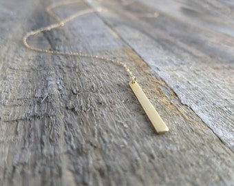 Long Gold Bar Lariat Necklace