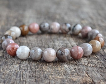 Petrified Wood Bracelet • Mens Beaded Bracelet • Gemstone Bracelet • Stacking Bracelet • Minimal Bracelet For Women • Stretch Bracelet