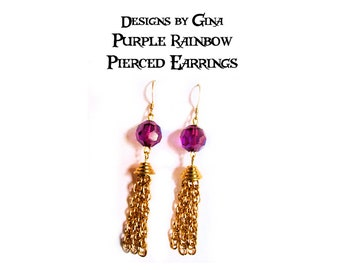 Purple Rainbow Beaded Chain Tassel Pierced Earrings DG0004E Handmade Original Designs by Gina AB Purple Beads Upcycle