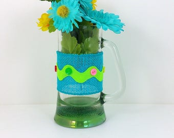 Burlap glass mug yellow and blue flowers with turquoise button trim 110