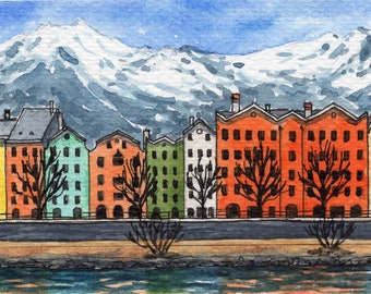 ACEO Original Watercolor Painting-Colorful Row Houses Innsbruck,Austria In The Heart Of The Alps/ATC