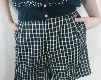 Vintage Two Piece Short Vest Set 1980s, Navy Blue Plaid Gold Buttons High Waisted Long Pleated Vintage Shorts Size 10 Medium Summer Outfit