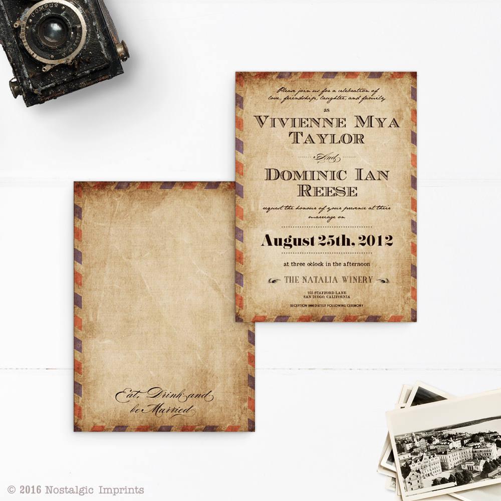 Airmail Wedding Invitations: Vintage Airmail Wedding Invitations 5x7 Portrait Rustic
