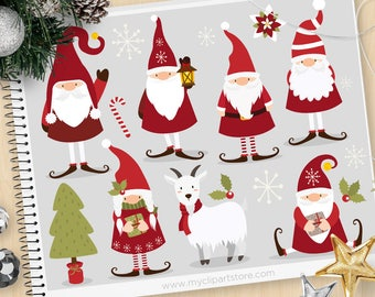 Scandinavian Christmas Gnome Clipart, Tomte, dwarf, Tomtenisse, Yuletide, Yule Goat, Personal and Commercial Use Vector Clip Art, SVG Cut
