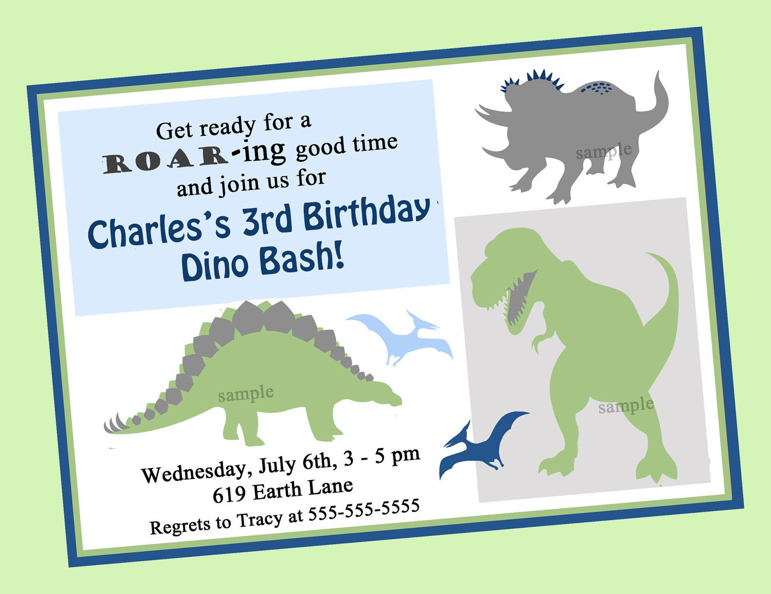 Dinosaur Birthday Invitation Printable or Printed with FREE