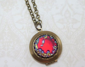 Ruby Red Locket Art Glass Locket Red Necklace Pendant Hollywood Glamour Boho Glam Jewelry Gift