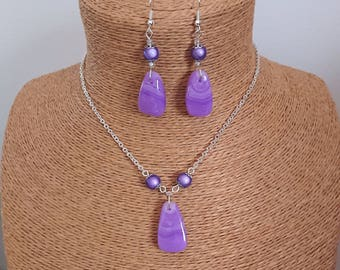 Silver Pendant chain set, and purple polymer stones
