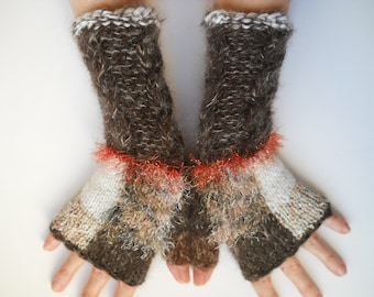 Women Size M 20% OFF Accessories Fingerless Mittens Elegant Warm Wrist Warmers Winter Gloves Hand Knitted Cabled Romantic Gift Arm Brown 600