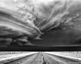 Black and White fine art print of an amazing supercell in Texas