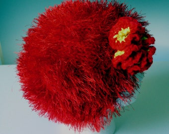 CHEMO HAT CAP Beanie  Red,    2 ply  hand knit  fluffy,  with eyelash yarn  - Optional crocheted flower -