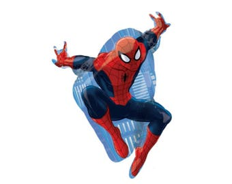 Spiderman Balloon, Spider-Man, Super Hero, Marvel Comics, New York City, Peter Parker, Birthday Party, by uptown party goods on etsy.com