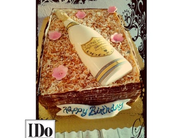 Champagne Label and Collar for Cake - Custom Digital artwork to send to Edible Printing Shop -Artwork Only
