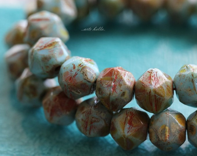 sale .. TURQUOISE NUGGETS No. 2 .. 20 Picasso Czech Glass Faceted English Cut Beads 8mm (5215-st)