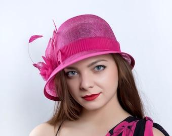 kentucky derby hat, Royal Ascot Hat, Wedding hat, Downton abbey hat, Tea Party hat, 20's cloche hat, hot pink hat, Fuschia hat, Summer hat
