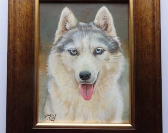 Siberian Husky DOG PORTRAIT Original oil PAINTiNG on canvas Little Framed Artwork Hand painted miniature pet potrait