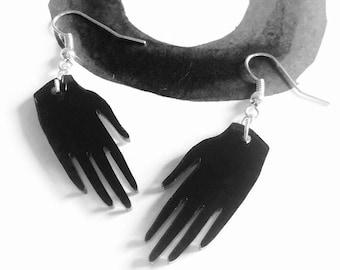 Black hand earrings, laser cut jewellery, mirror acrylic