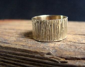 Solid Gold 14k Mens Wedding Band Ring Tree Bark Texture