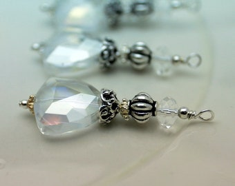 Vintage Style Clear AB Triangle Crystal Bead Dangle Charm Drop Pendant Set