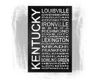 Kentucky State 1 Subway Sign Fine Art Print | Modern Chalkboard Typography