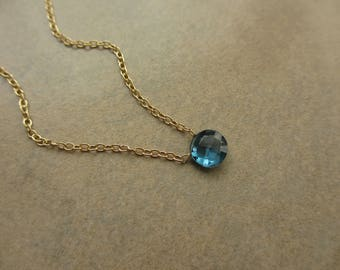 London Blue Topaz Necklace, Gold Necklace, Small Pendant Necklace, Irisjewelrydesign