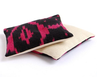 Organic Lavender Sachets Set of 2 Black and Magenta Ikat Cotton & Linen Lavender Scented Sachets Natural Home Wedding Favors