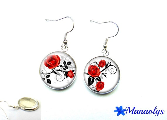 Pink red earrings, cabochons glass 2336