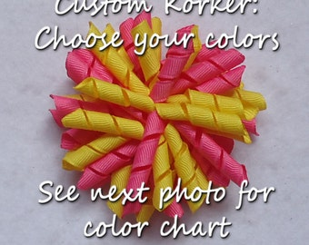 Korker Hair Bows~Pigtail Hair Bow~Custom Korker Bow~Corker Bow~School Uniform Bow~Boutique Bows~Sport Team Hair Bow~Korker Bow~Ponytail Bow