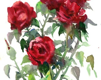 Dark red roses, Deep Red, Red wall art, Original watercolor painting, 14 X 11 in, deep red roses art, garden floral painting