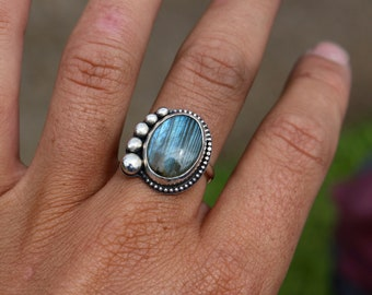 Labradorite Ring; Sterling Silver; Natural Gemstone, Size 6 1/2; Boho