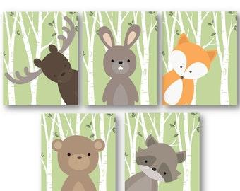 Woodland Nursery Decor - Woodland Nursery Art - Baby Boy Decor - Forest Animals Nursery - Animal Nursery - Animal Wall Art - PRINTS ONLY