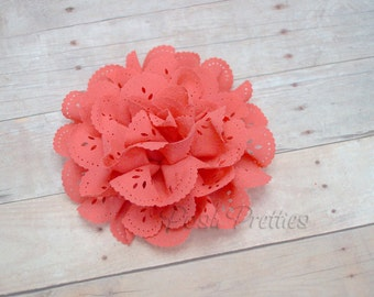 Coral Eyelet Lace Flower Hair Clip - Lace Flower -