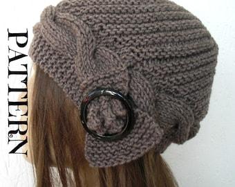 Instant Download Knit hat pattern- Digital  Hat Knitting PATTERN PDF - Cable Knit hat  Pattern - Cloche Hat Knit Pattern Womens hat