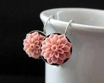 Antique Pink Dahlia Flower Earrings. French Hook Earrings. Pink Flower Earrings. Lever Back Earrings. Handmade Jewelry.