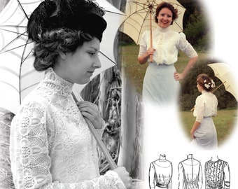 E-Pattern- 1900-1910s Blouse & Guimpe- SIZE PACK 2- PDF Sewing Pattern- Wearing History