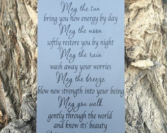Apache Blessing Wood Sign, Apache Blessing Graduation Gift, Birthday Gifts for Her, Inspirational Poem Gifts, May the Sun, Irish Blessing
