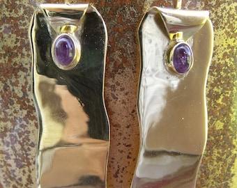 All Natural, Beautiful Herkimer Diamonds • VERMEIL • Rhodolite Garnet • Authentic Lustrous 24 Kt Gold On Silver
