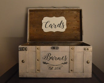 Vintage Wedding Card Box, Rustic Wedding Card Box, Large Vintage Trunk Wedding Box with Last Name and Date A1A