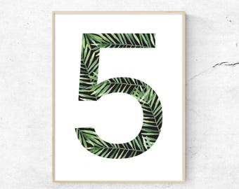 Typography Art, Number 5, Tropical Wall Art, Greenery Print,minimalist wall art, printable typography, typography Download, Large Pr
