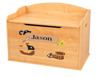 Personalized Pirate Natural Toy Box Bench