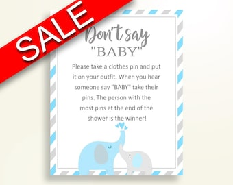 Dont Say Baby Baby Shower Dont Say Baby Elephant Baby Shower Dont Say Baby Blue Gray Baby Shower Elephant Dont Say Baby printable C0U64