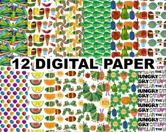 Hungry Caterpillar Digital Paper Clipart - 12 jpeg files 12x12 inches 300 dpi