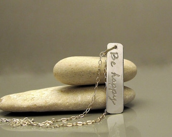 Be happy necklace, Sterling silver bar necklace, Vertical bar necklace made to order, Inspiration necklace