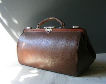 Beautiful French Antique Brown Leather Doctor Bag .