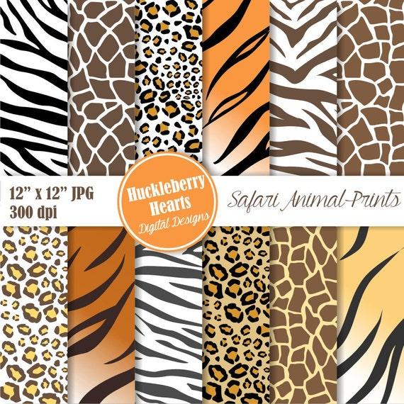 Safari Animal Prints Digital Paper Zebra Leopard Cheetah