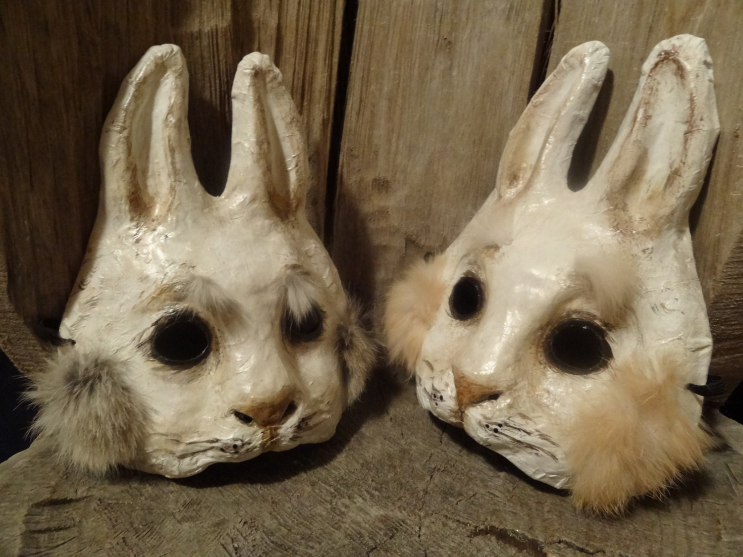 Rabbit mask bunny mask paper mache animal mask stand by me - Masque papier mache ...