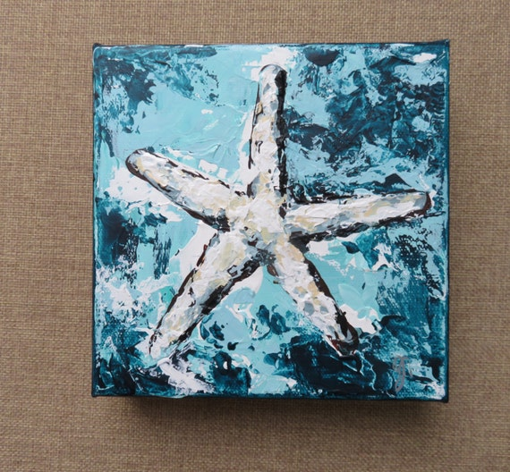 Starfish Painting/Beach House Style Art/Nautical Original Art/Coastal Art/Small Beach Painting/Starfish Art