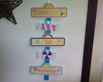 CandyLand door hanger sign