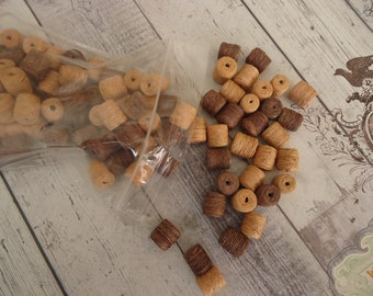 Large Lot of Vintage Twined Beads, Dark Brown and Natural, 3 Oz.