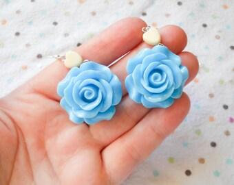Rose Earrings, Big Flower Earrings, Big Rose Earrings, Flower Earrings, Blue Rose, Blue Flower, Earrings, Lolita, Pop Kei, Kawaii